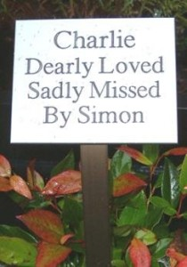 A memorial plaque for a pet who has received a communal cremation
