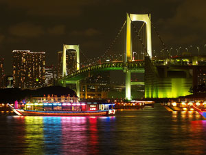 The Rainbow Bridge in Tokyo Bay