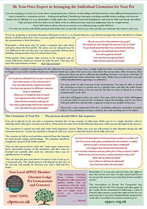 Detailed chart advising on pet cremation