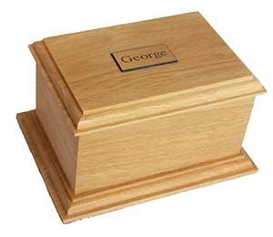 Option 6 Natural Oak casket with engraved nameplate