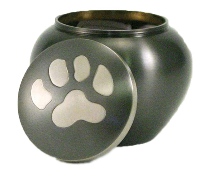 option 12 round brass single paw print urn in slate finish