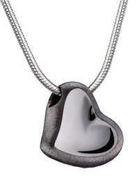 slate finish heart pendant for ashes or fur