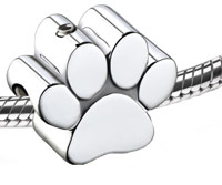 silver pawprint charm for ashes or fur