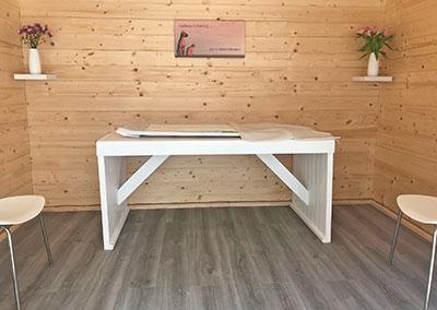 pet crematorium reception room showing viewing table