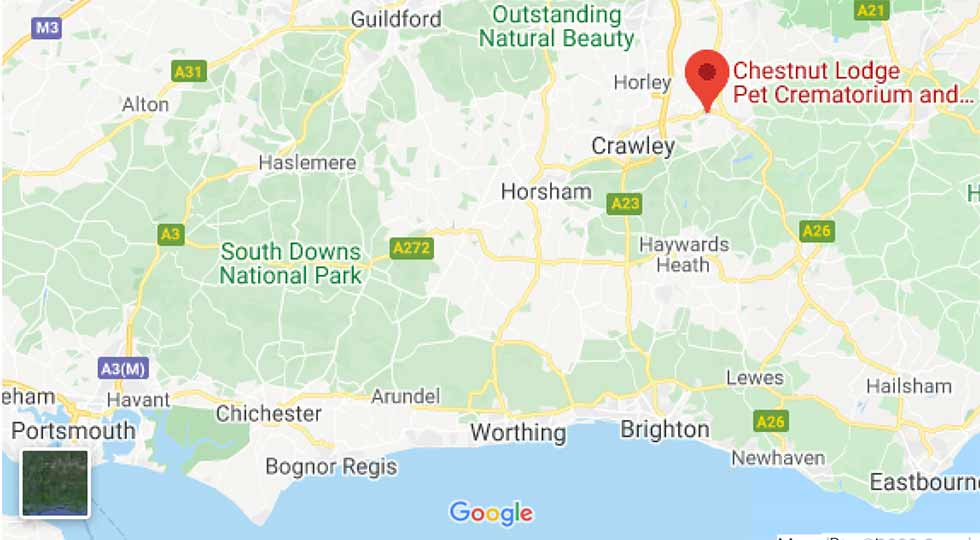 Location of Chestnut Lodge Pet Crematorium