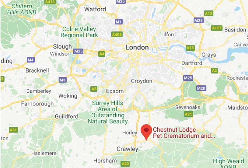 Location Map for Your Surrey Pet Crematorium