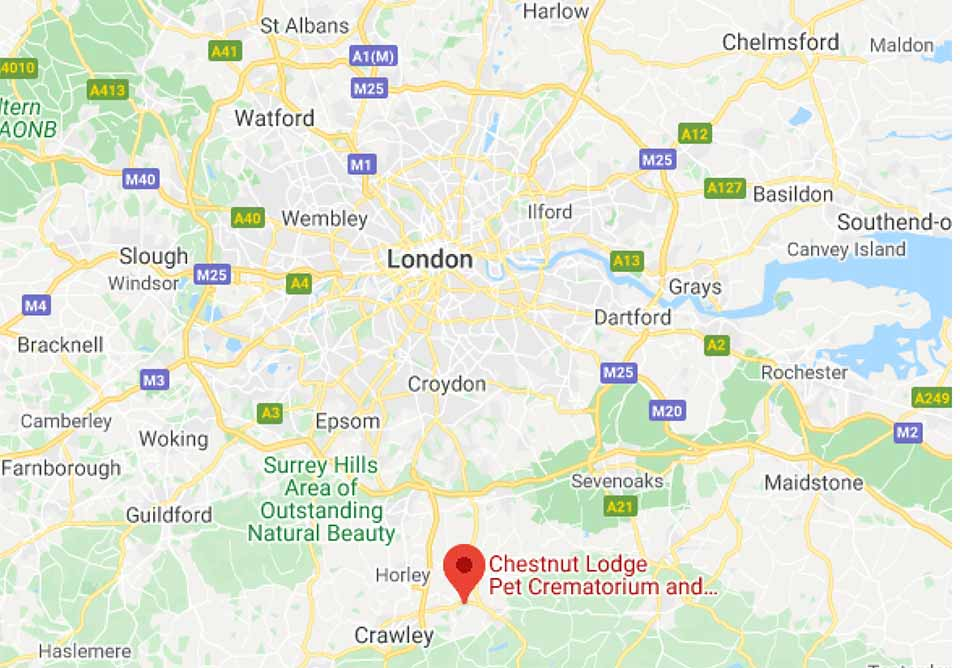 London Pet Crematorium Location Map